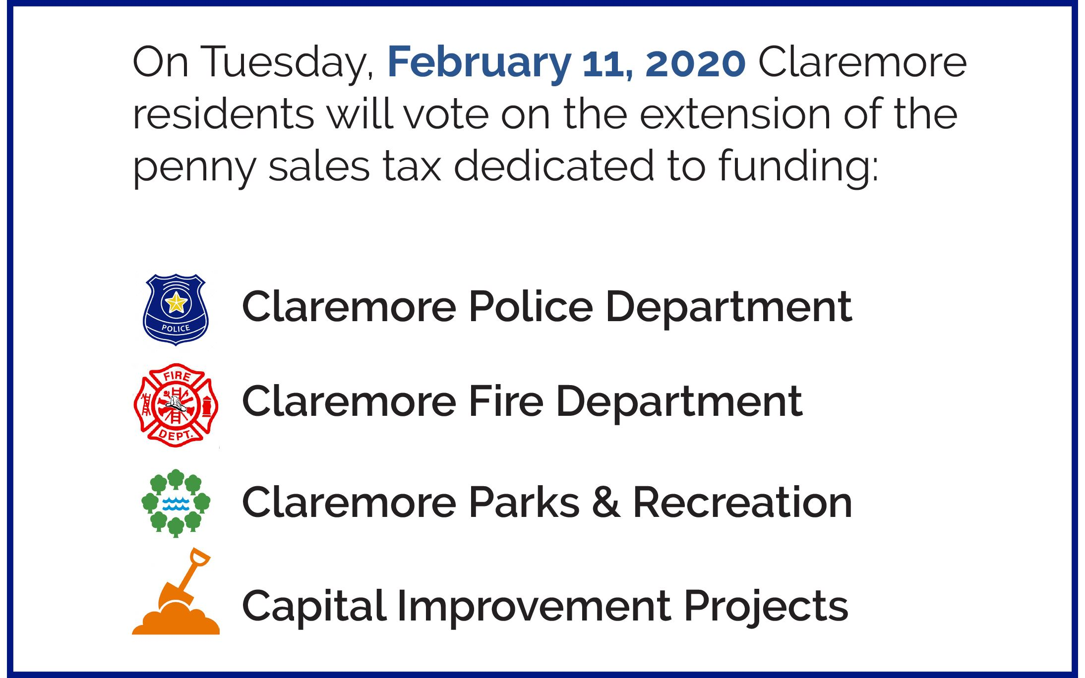 Vote on February 11 for Sales Tax Renewal in Claremore OK